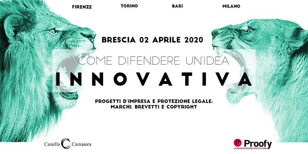 """""""Locandina Come difendere un'idea innovativa"""" Brescia"""
